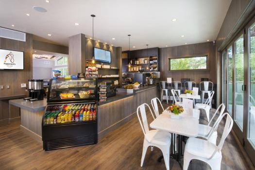 The deli/cafeteria at the Gant. Book your stay at the Gant here. Aspen Snowmass is opening for the Summer Season.