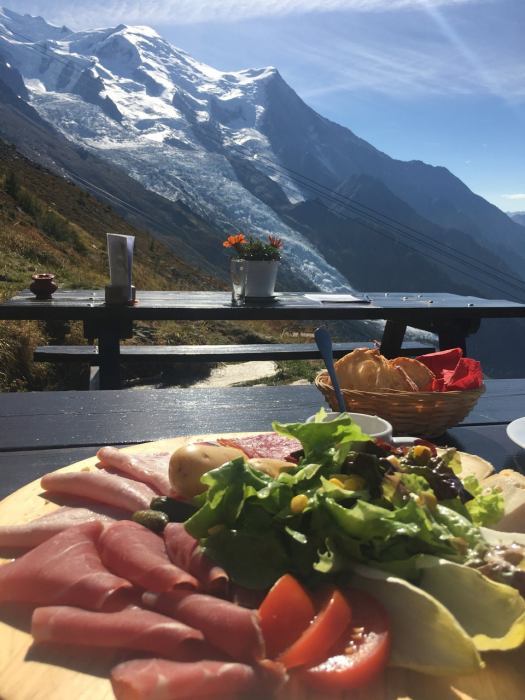Refuge Plan de l'Aiguille- A plate with some cold cuts with a view. The Must-Read Guide to Chamonix.