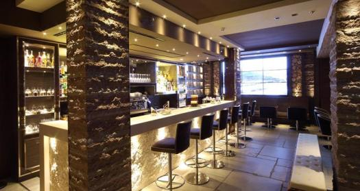 Bar at the Rosapetra Spa Resort. Cortina Dolomiti Ultra Trekking.