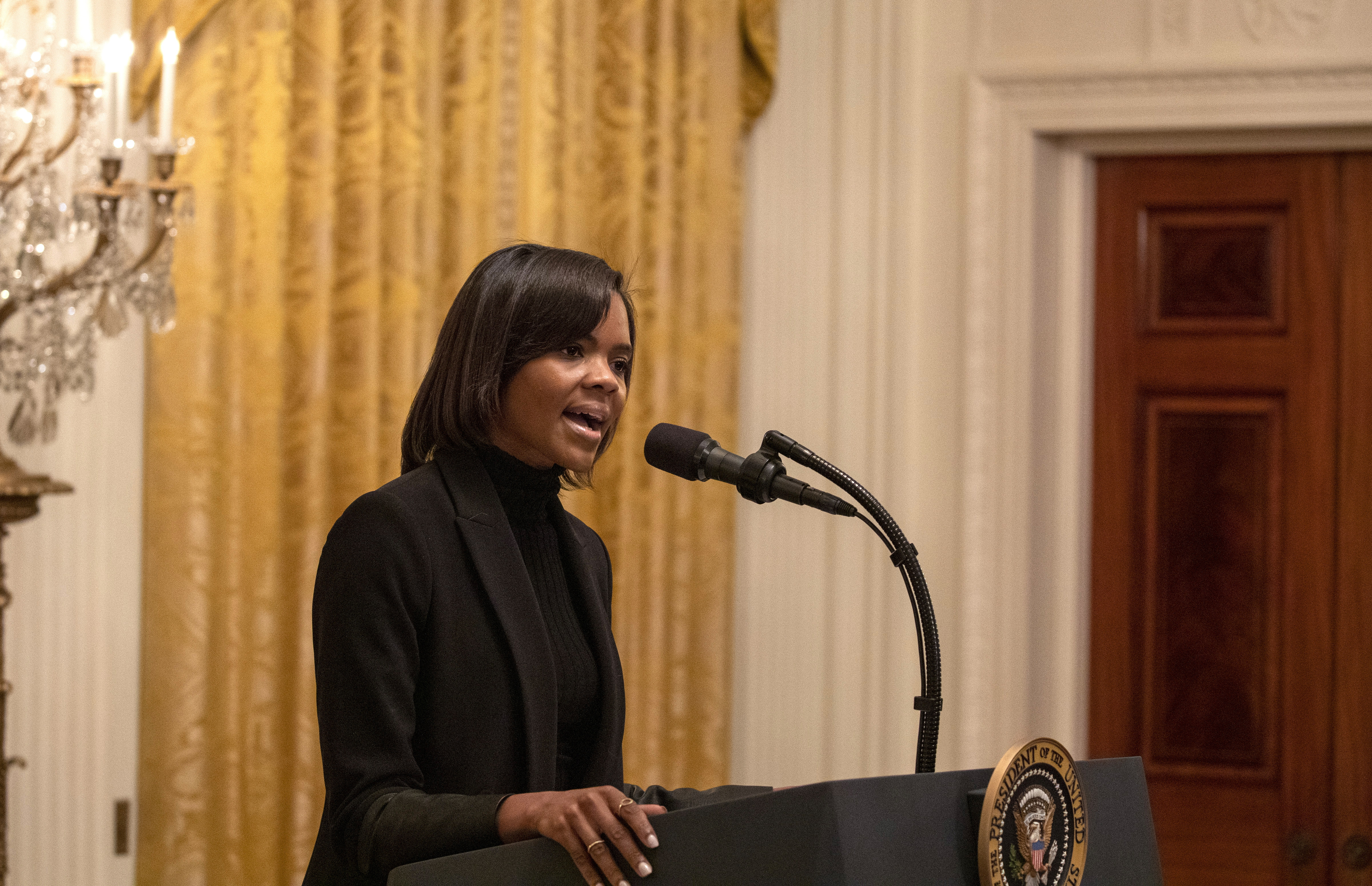 Candace Owens speaks at the Young Black Leadership Summit 2019 at the White House in Washington