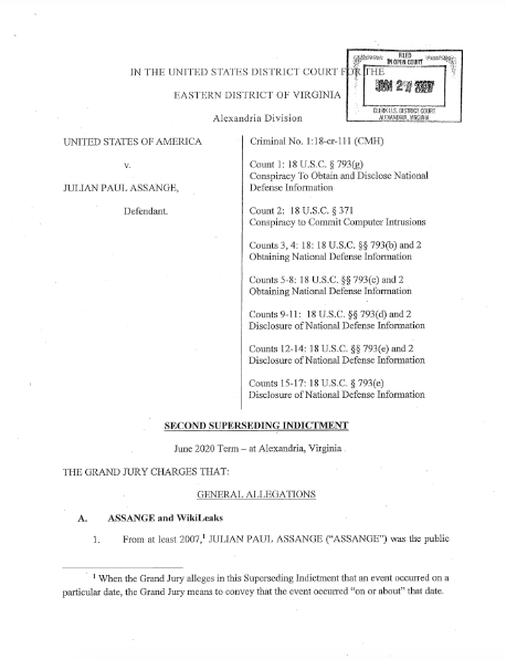 The charging document was revealed Wednesday