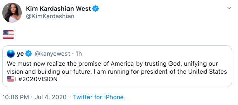 Kim retweeted her husband's announcement tweet in support