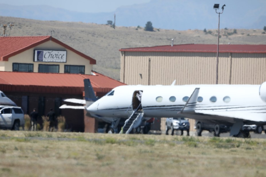 Kanye was picked up by a private jet in Cody, Wyoming
