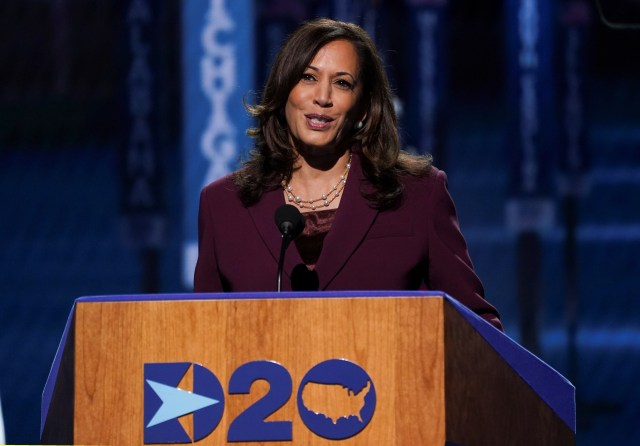 Kamala Harris, pictured at the democratic National Convention, was duped by Vovan and Lexus