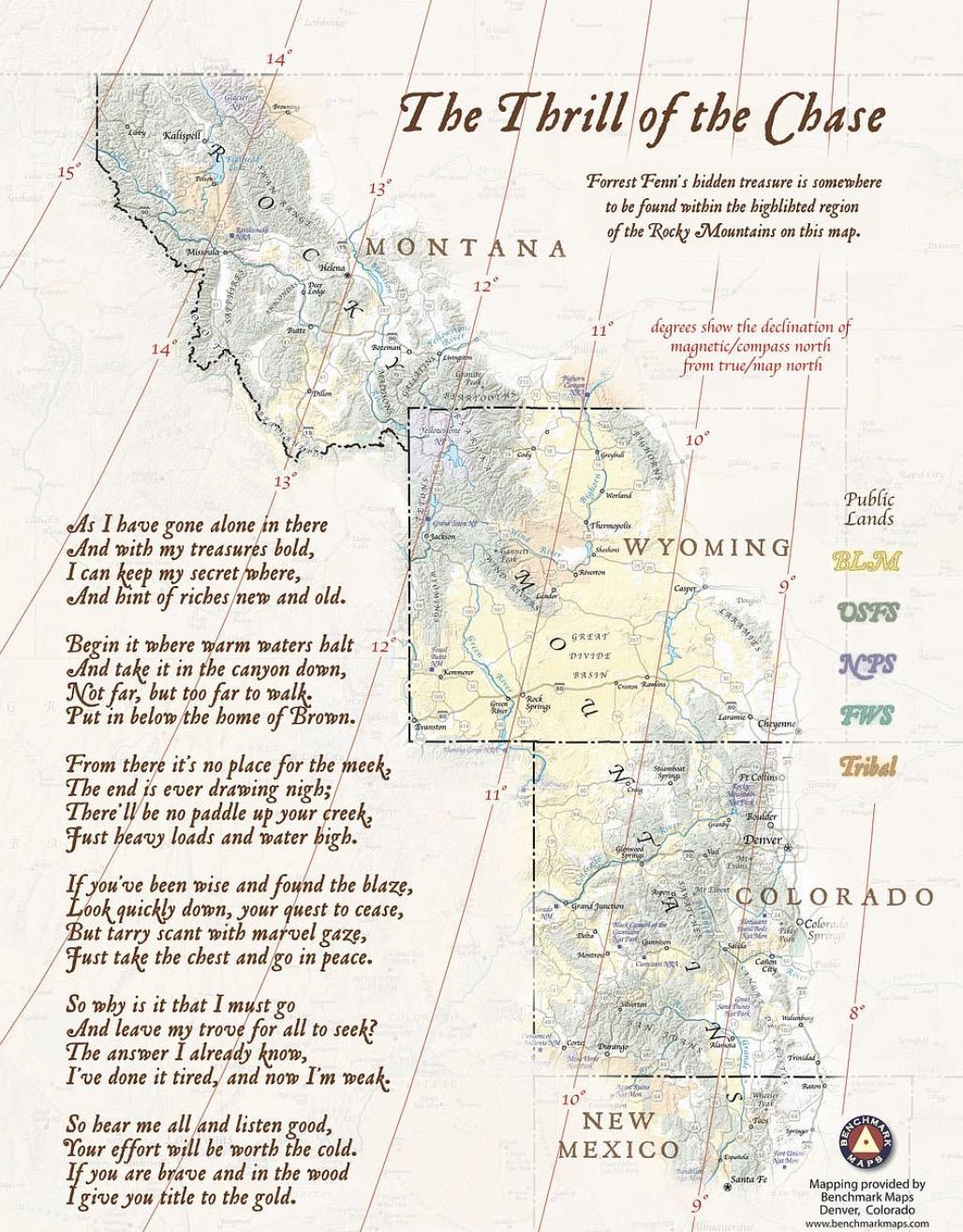บทกวีของ Fenn 'The Thrill of the Chase' ซึ่งมีเบาะแสเกี่ยวกับที่ตั้งของสมบัติ