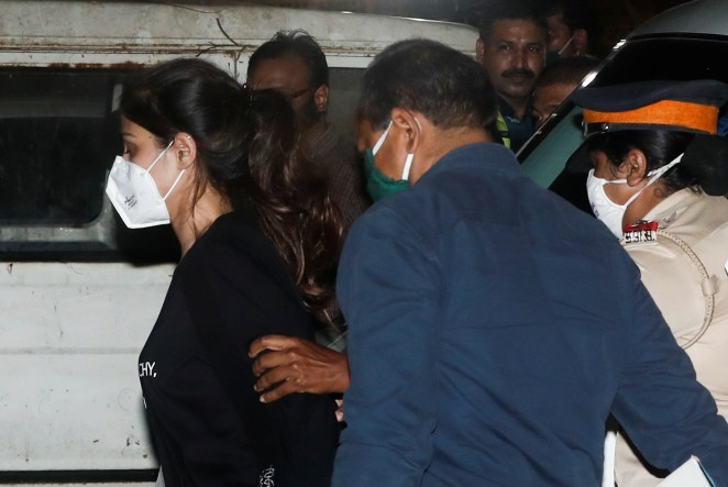 Chakraborty arrives at the Narcotics Control Bureau after her arrest on Tuesday