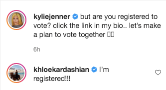 She captioned encouraging fans to vote