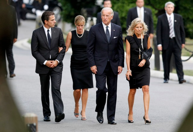 Biden with his wife, Jill, Hunter, and his daughter-in-law, Kathleen Biden for the burial of U.S. Sen. Edward Kennedy on August 29, 2009