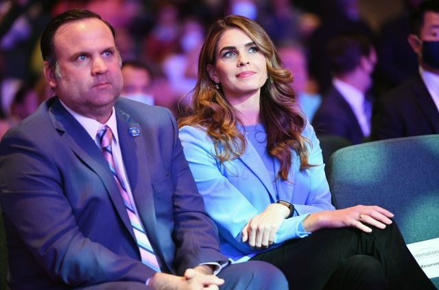 Dan Scavino sits next to Hope Hicks while attending a church service in Las Vegas