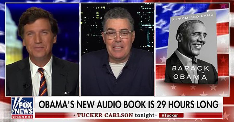 Tucker Carlson and Adam Carolla joked about the lengthy book on Fox News