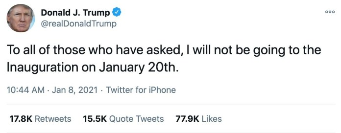 President Donald Trump tweeted that he would not attend the inauguration