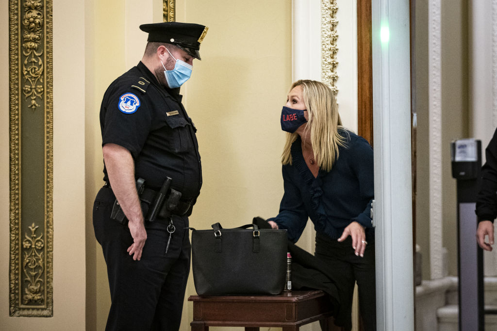 She was then seen speaking to Capitol police