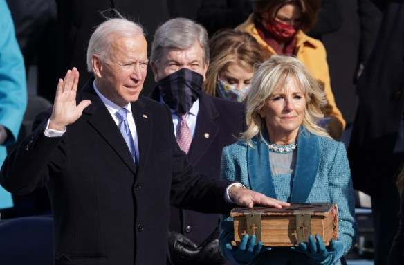 Biden seen being sworn at the Capitol today