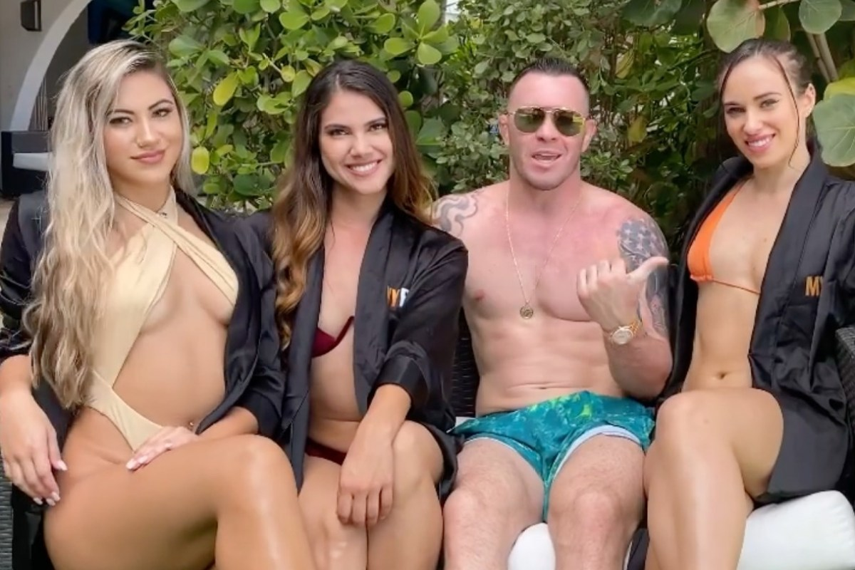 Covington savages Poirier in UFC 257 prediction while sat with bikini-clad girls