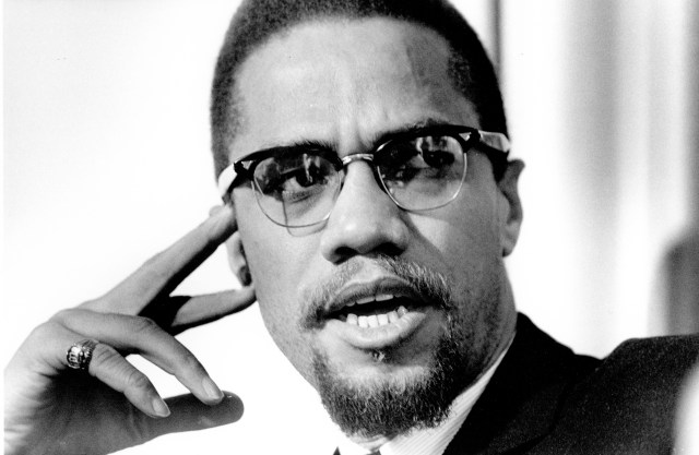 Civil rights activist Malcolm X, pictured on February 16, 1965, in Rochester, New York