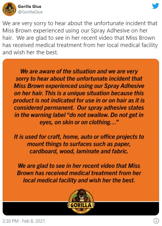 Gorilla Glue issued a statement expressing condolences for Brown but added its product is not for use on hair