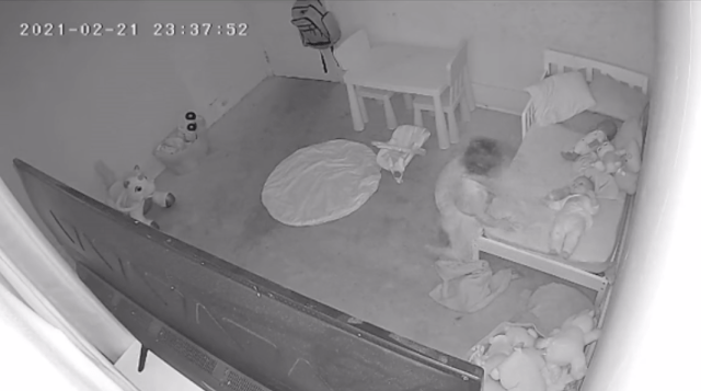 The video footage showed the toddler getting off her bed