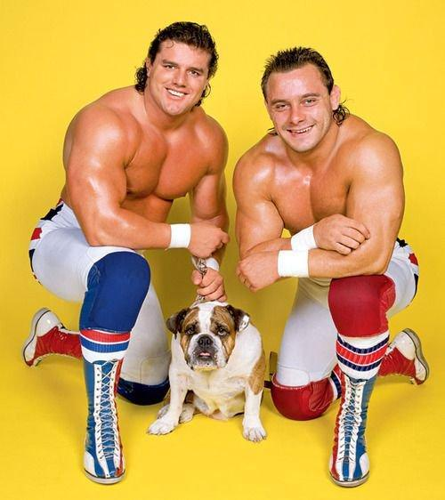 British Bulldog (left) was a fan favorite and one-half of the British Bulldogs tag team