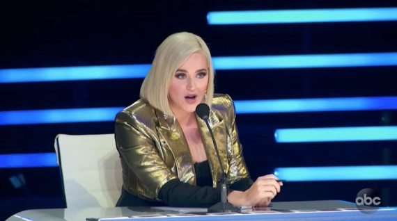 Katy Perry looked noticeably alarmed after Erika's post-elimination tantrum