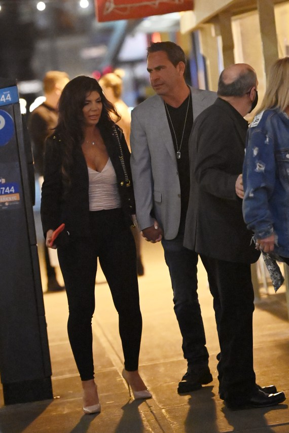 They both dressed up for the occasion, with Teresa stepping out in nude heels and a leather jacket with jeans