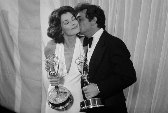 Jessica and Peter Falk congratulating each other after they won the best actor and actress Emmy in 1975