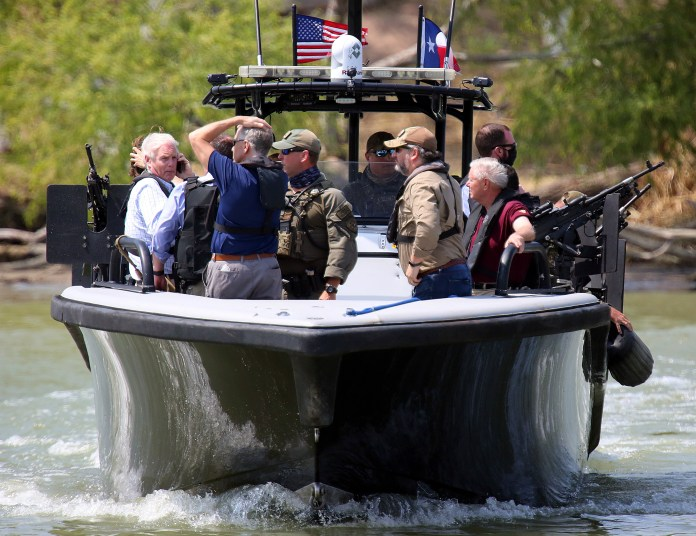 Earlier in the day, he went on a boat through the US-Mexico border with 18 other GOP Senators