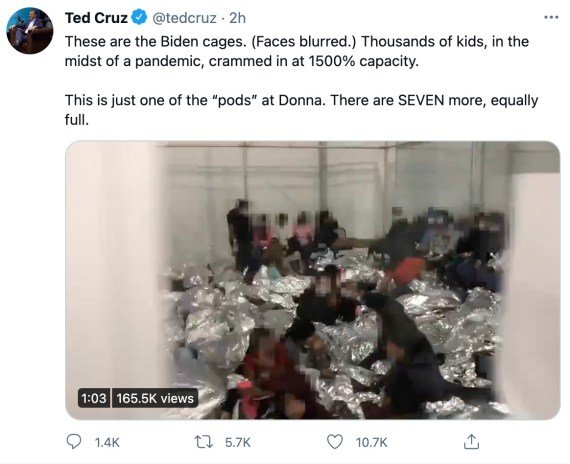 Ted Cruz posted a video of a packed tent holding migrant children