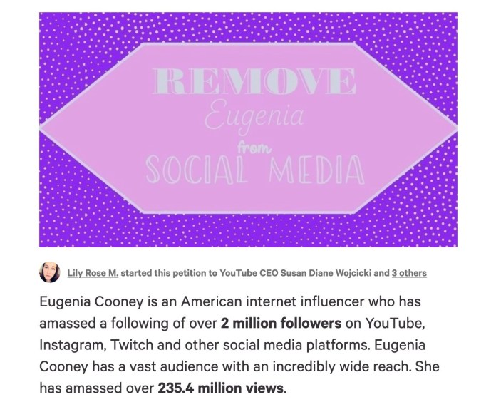 The petition gave a detailed explanation about why fans want Eugenia removed from social media