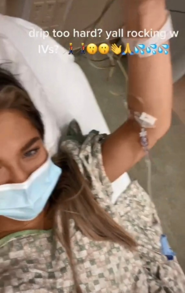Claudia appeared to be hooked up to an IV