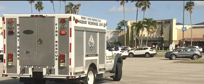 Police, fire responders, and the hazmat crews were seen outside the mall