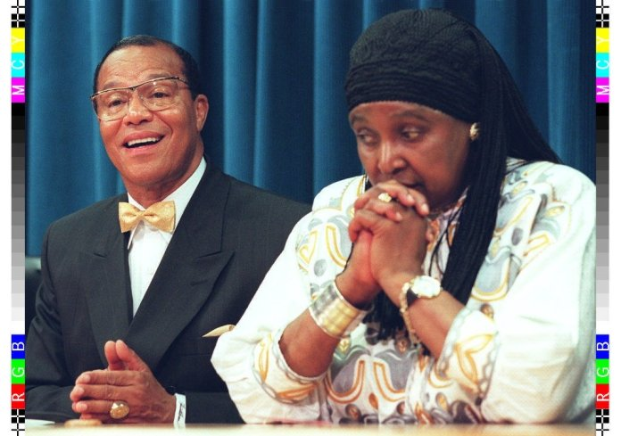 Farrakhan seen with Nelson Mandela's ex-wife Winnie. A string of prominent black figures have been involved with the group over the years