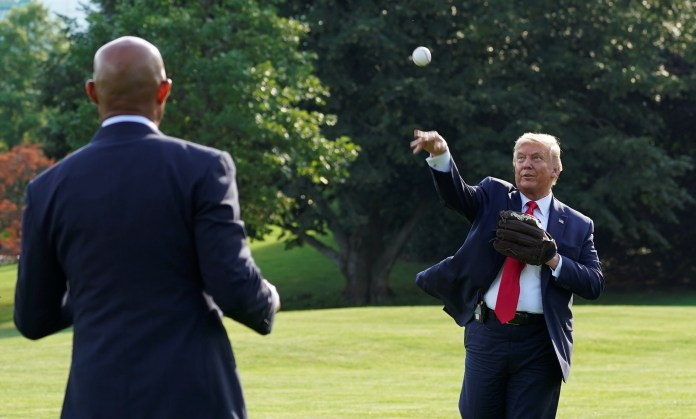 Donald Trump (pictured in July 2020) has called for a boycott of the MLB