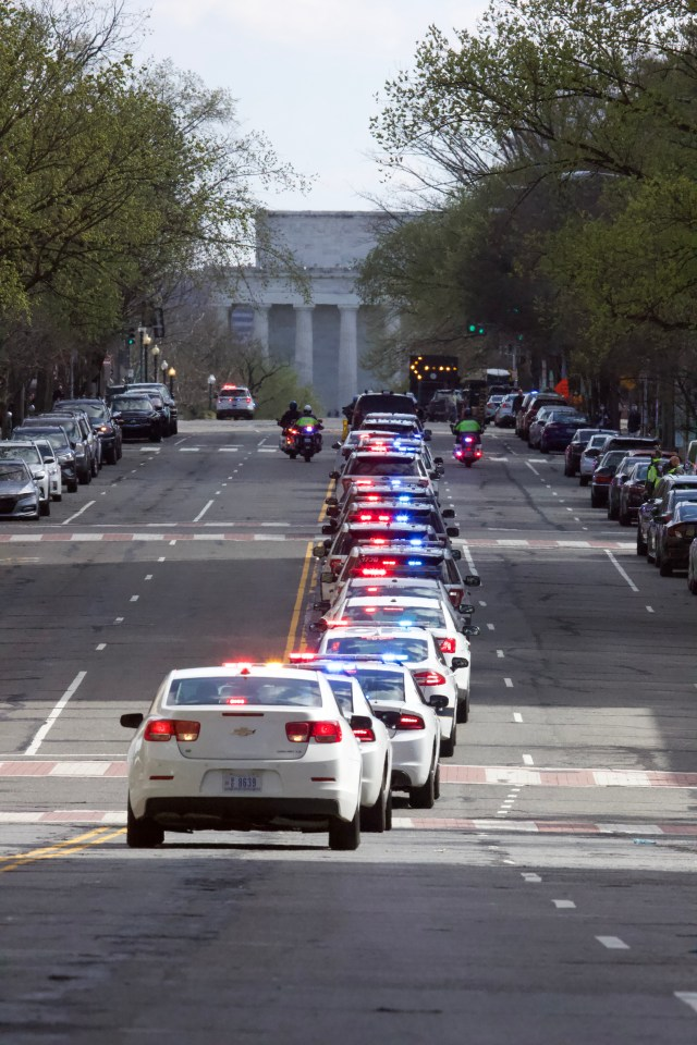 A police procession escorts the body of US Capitol officer William Evan's on April 2