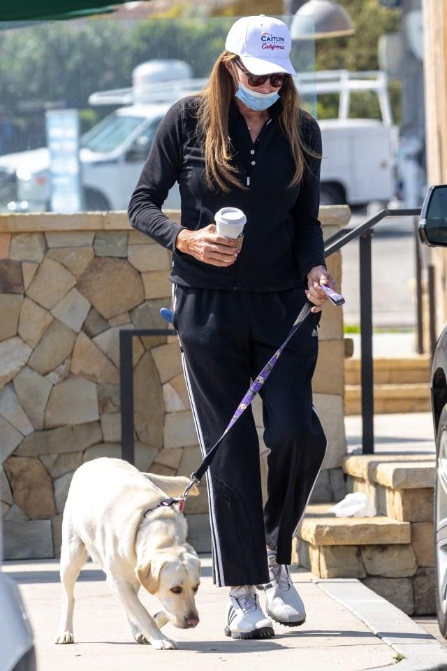 Jenner wears the cap as she walks her dog in Malibu