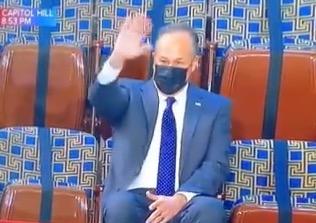 The Second Gentleman sweetly waved to Kamala Harris during Biden's address