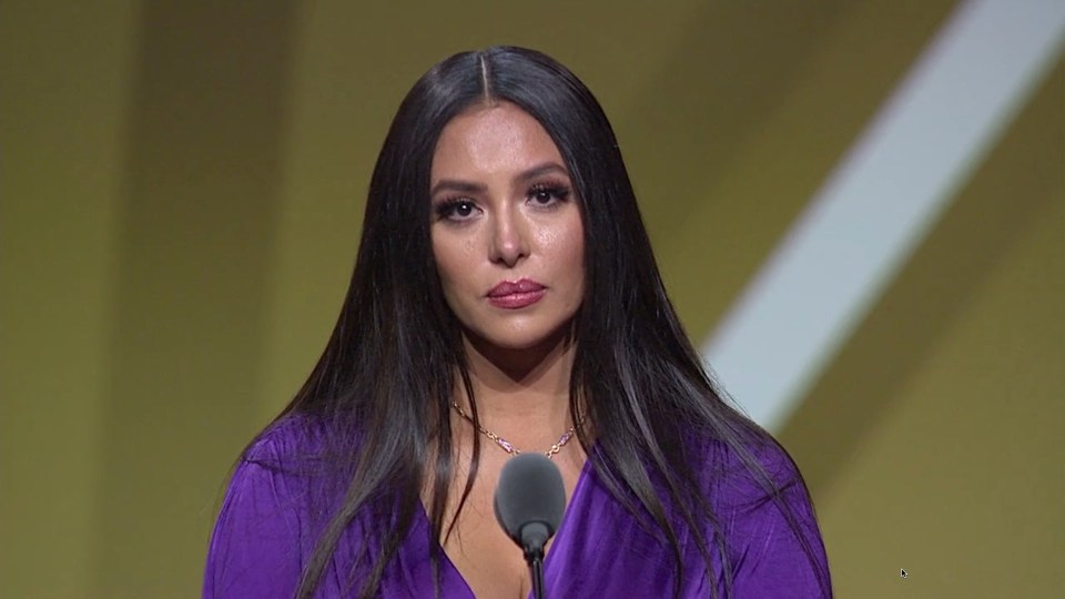 A tearful Vanessa Bryant spoke about her late husband's talents on and off the basketball court during his posthumous induction into the Hall of Fame
