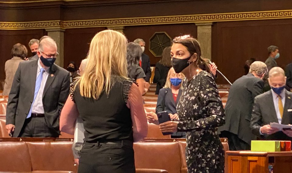 """On May 12, AOC was accosted by Greene outside the House chambers.Greene asked her why she supported """"Antifa"""" and the Black Lives Matter movement"""