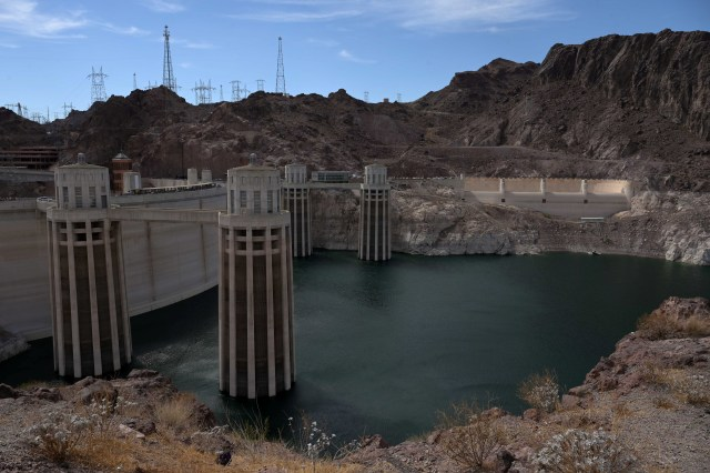 The reservoir created by the Hoover Dam is at its lowest in its existence