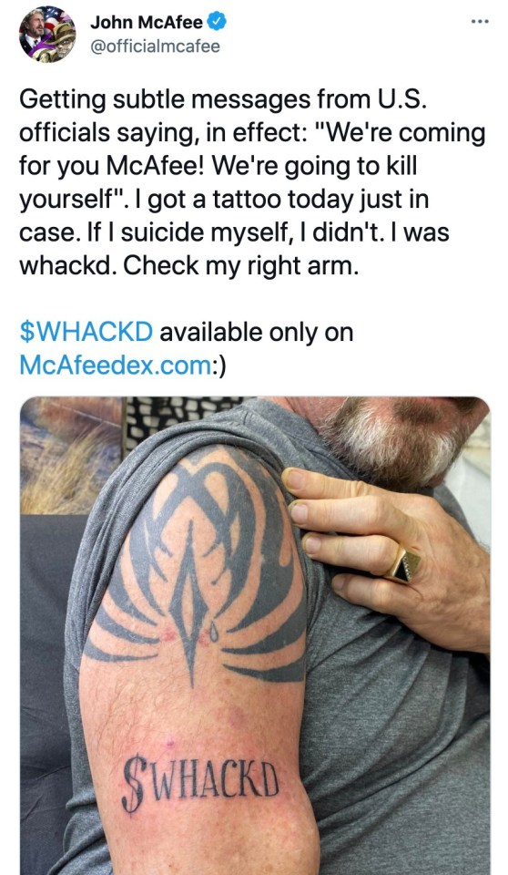 McAfee has previously stated that he would never kill himself