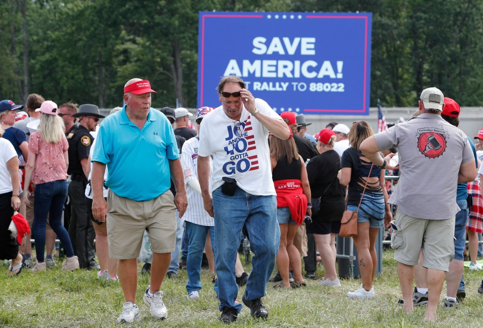 'Save America' signs at Trump's rally in Ohio on Saturday night
