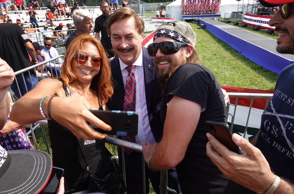 Mike Lindell at Trump's rally in Ohio on Saturday