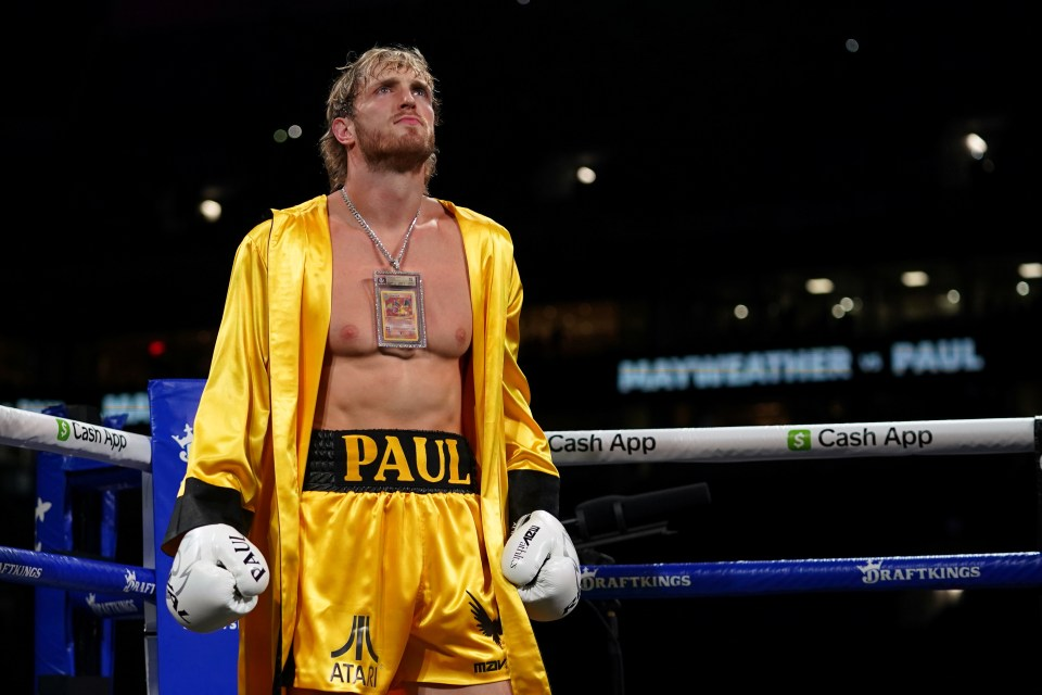 Logan Paul stands in the ring prior to an exhibition boxing match against Floyd Mayweather Jr. (not pictured)