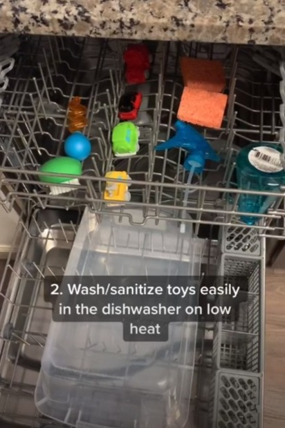 She simply puts them inside the dishwasher