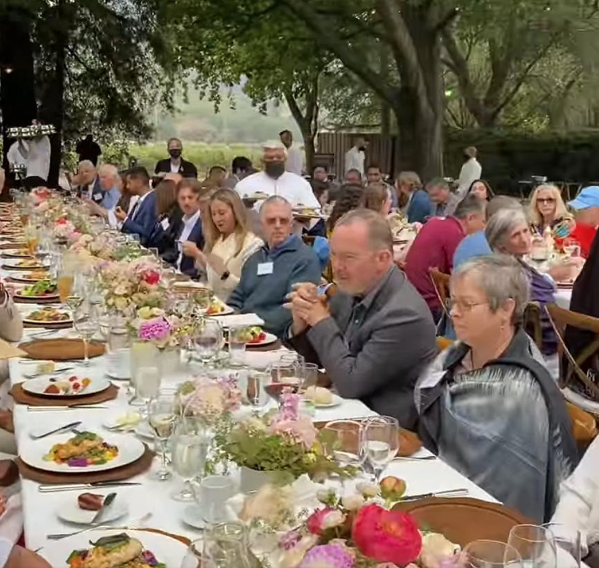 Attendees were seen sitting close together at the Napa Valley event