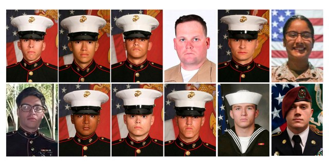 It was erected to pay tribute to the 12 Marines and one US Navy medic killed in Kabul