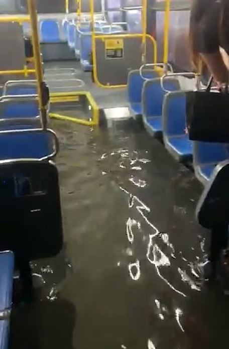 Buses also filled with floodwater