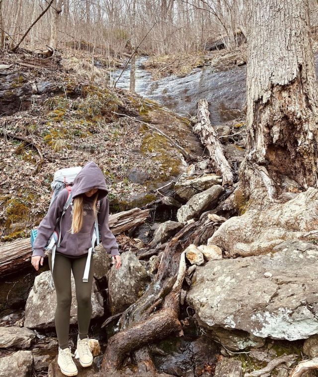 The first image shows Gabby making her way through the Appalachian Trail in Georgia