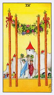betekenis van de tarotkaart staven vier