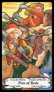 Betekenis Tarotkaart Staven Vijf bij kaartleggen