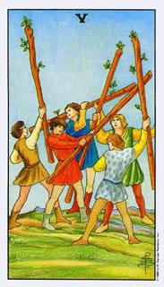 betekenis tarotkaart staven vijf bij het kaartleggen met de tarot